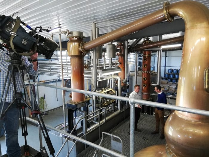 BBC Look North at the Spirit of Yorkshire Distillery - David Thompson with Spencer Stokes