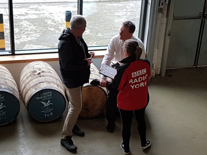 "Radio York's ""Bek by the Sea"" interviewing co-owner David on the barrels in the Spirit of Yorkshire Distillery."