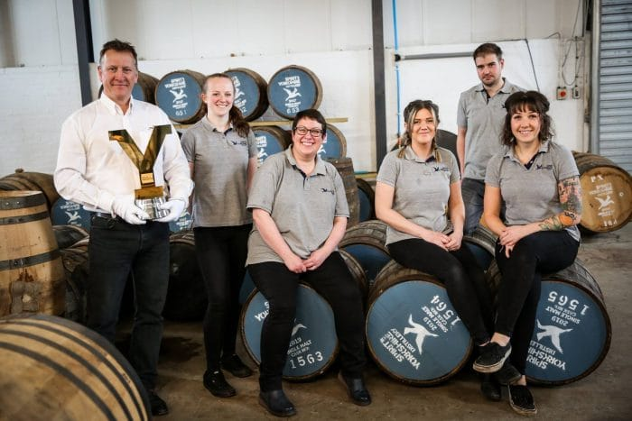 Tour de Yorkshire, Trophies at Spirit of Yorkshire Distillery. The full team.
