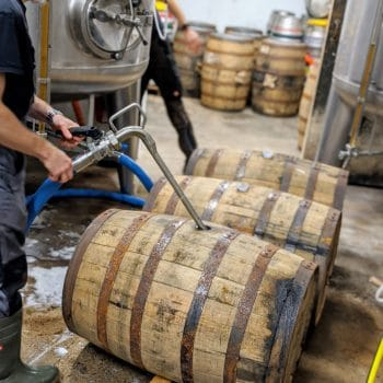Brewer Andrew fills ex-Filey Bay Whisky Casks with a specially brewed beer for our second barrel aged beer with the Wold Top Brewery