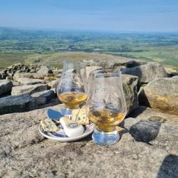 Filey Day Yorkshire Day 2020 single malt whisky paired with Shepherd Purse's Yorkshire Blue cheese in the sunshine atop Ingleborough