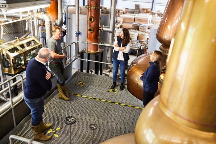 Socially distanced Team meeting at the Spirit of Yorkshire Distillery