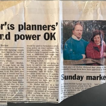 Newspaper clipping from the 1990s which discusses Tom and Gill Mellor winning planning permission for wind turbines at Hunmanby Grange, the Spirit of Yorkshire Distillery Farm.