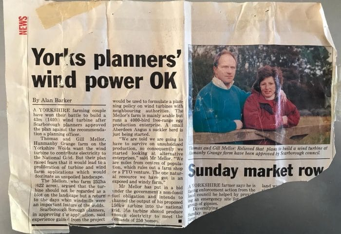 Newspaper clipping from the 1990s discussing the approval of a wind turbine at Hunmanby Grange farm by the Planning board of Scarborough Borough Council.